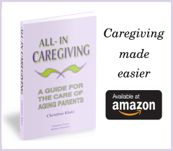 Links to the all-in caregiving site and amazon page to buy book all-in caregiving by Christine Klotz