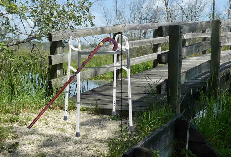 walker cane bridge for article on canes and walkers for caregivers by christene klotz